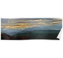 Blue Ridge Parkway sunset panoramic Poster