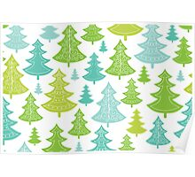 Decorative Christmas Trees Pattern Poster