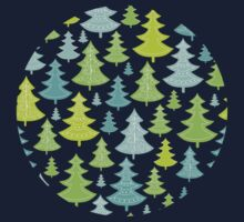 Decorative Christmas Trees Pattern Baby Tee