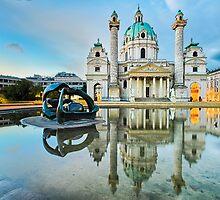 Karlskirche in Vienna, Austria at sunrise by Michael Abid