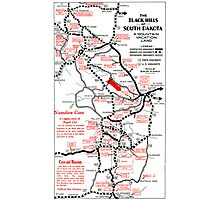 1938 Black Hills South Dakota Road Map Photographic Print