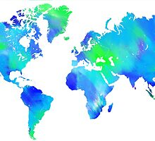 Blue-Green Painted World Map by Emilyn Frohn
