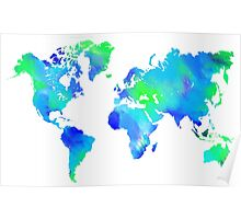 Blue-Green Painted World Map Poster