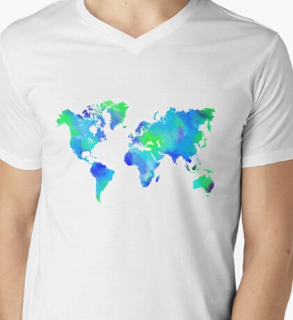 Blue-Green Painted World Map Mens V-Neck T-Shirt