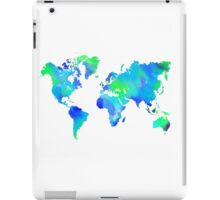 Blue-Green Painted World Map iPad Case/Skin