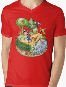 Red Version Mens V-Neck T-Shirt