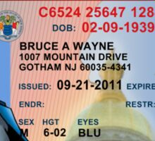 Batman Driver's License Sticker
