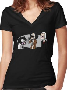 Creepypasta Funny Faces Women's Fitted V-Neck T-Shirt