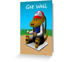 Well Soon Baseball Dog  Greeting Card
