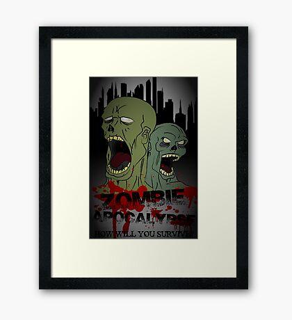 Zombie Apocalypse Poster Framed Print