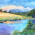 """Bishop and Clerk"" at sunset from Bernacchi creek, Darlington, Maria Island by melhillswildart"
