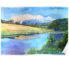 """Bishop and Clerk"" at sunset from Bernacchi creek, Darlington, Maria Island Poster"