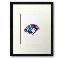 Baseball Player Throwing Ball Retro Framed Print