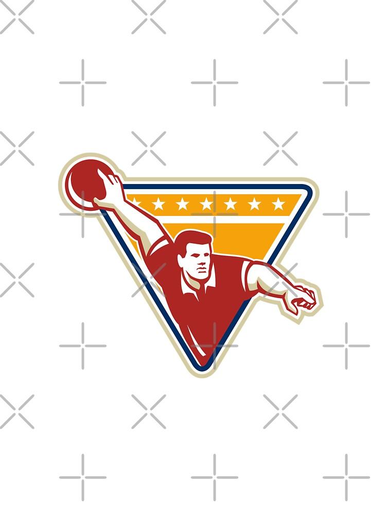 Bowler Pose Bowling Ball Pins Retro by patrimonio