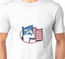 American Soldier Salute Flag Retro Unisex T-Shirt