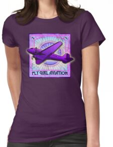 FLY GIRL AVIATION VINTAGE AIRPLANE GEAR Womens Fitted T-Shirt