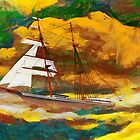 A digital painting of Mary Celeste in the rig she wore when found in 1872 by Dennis Melling