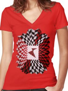 Red and Black optical illusion Women's Fitted V-Neck T-Shirt
