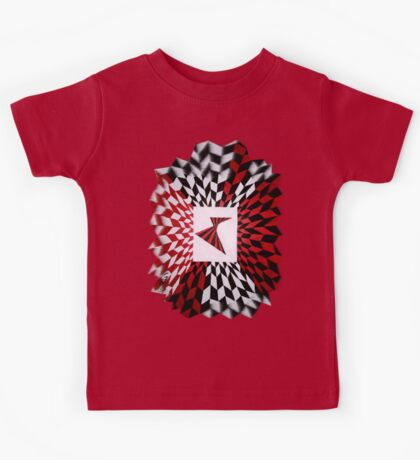 Red and Black optical illusion Kids Tee