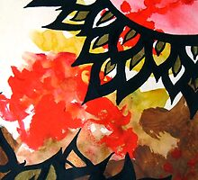 Autumn Sun abstract nature painting by VibrantDesigns