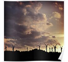 Silhouetted Windfarm Poster