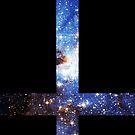 Blue Galaxy Inverted Cross by rapplatt