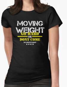 Moving Weight - GHODC Black Tee w/ White Print Womens Fitted T-Shirt