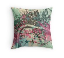 Thames Paint Splatter Map Throw Pillow