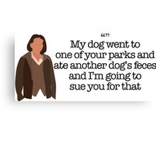 Another Dog's Feces Lady Parks and Recreation Canvas Print