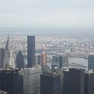 Aerial View of Chrysler Building, East River, Queensboro Bridge, Midtown Manhattan, Times Square, Central Park, As Seen From Empire State Building Observation Deck, New York City by lenspiro