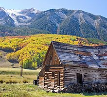 Rustic Rural Colorado Cabin Autumn Landscape by Bo Insogna