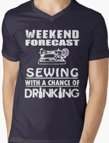 SEWING WITH A CHANCE OF DRINKING Mens V-Neck T-Shirt