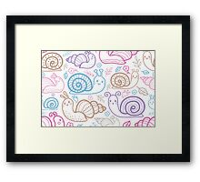 Cute little snails pattern Framed Print