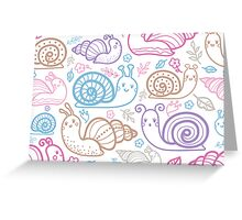 Cute little snails pattern Greeting Card