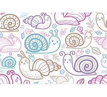 Cute little snails pattern Photographic Print
