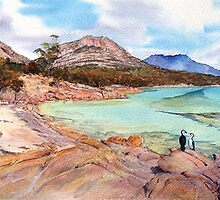 Three Shags on a rock- Honeymoon Bay, Freycinet. by melhillswildart
