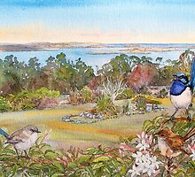 Mt Nelson Signal Station view with  Blue Wrens by melhillswildart