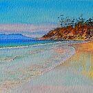 Spring Beach, cliff reflection. by melhillswildart