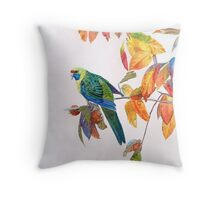 Green Rosella Throw Pillow