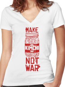 Make Kimchi Not War Funny Cool Nerd Geek T-Shirt Women's Fitted V-Neck T-Shirt