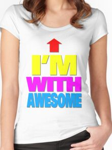 I'm with awesome Women's Fitted Scoop T-Shirt