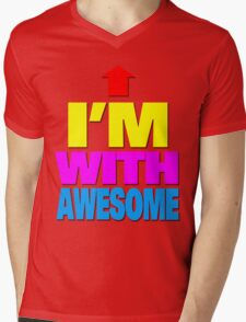 I'm with awesome Mens V-Neck T-Shirt