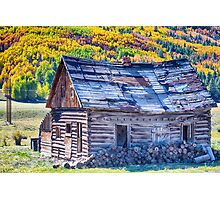Rocky Mountain Rural Rustic Cabin Autumn View Photographic Print
