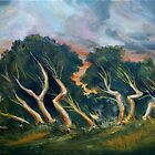 Cyprus trees oil painting by Mark Malinowski
