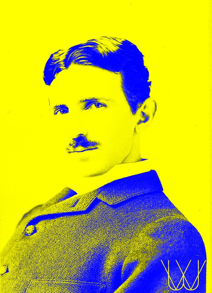 Nikola Tesla [Yellow Blue]   Wighte.com by FreshThreadShop