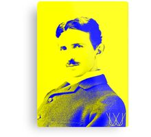 Nikola Tesla [Yellow Blue] | Wighte.com Metal Print