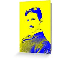 Nikola Tesla [Yellow Blue] | Wighte.com Greeting Card