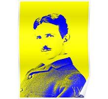 Nikola Tesla [Yellow Blue] | Wighte.com Poster