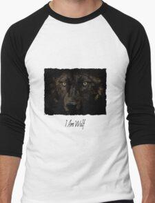 Midnights Gaze - Black Wolf Wild Animal Wildlife Men's Baseball ¾ T-Shirt