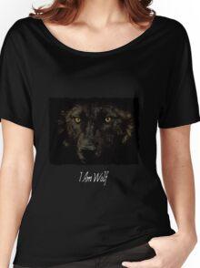 Midnights Gaze - Black Wolf Wild Animal Wildlife Women's Relaxed Fit T-Shirt